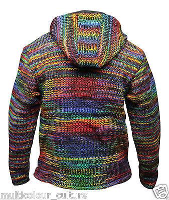 Tie Dyed Wool Men's Winter Jacket Full Sleeved Warm Jumper Festival Hippie Top