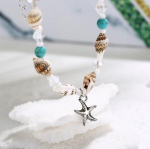 Shell-Crystal-Conch-Tassel-Beads-Anklet-Bracelet-For-Women-Bangle-Silver-Chain