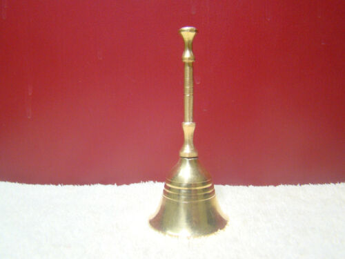 """Bell Brass 4/"""" Hand Held Service Chime Hotel Shop Reception Dinner Free Ship"""