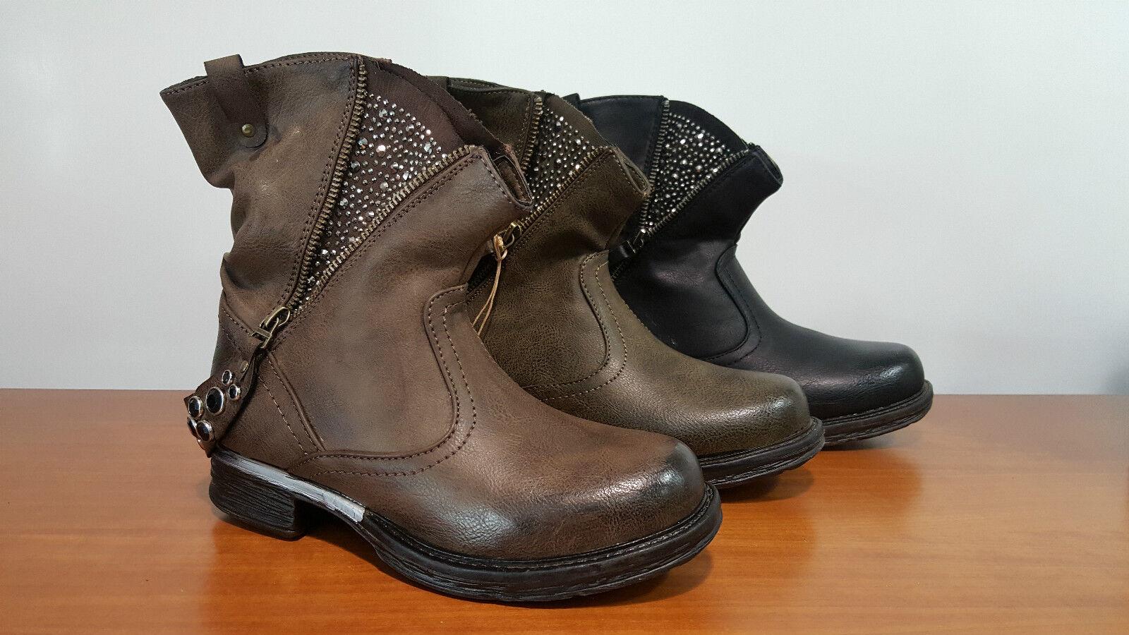 shoes women STIVALI STIVALETTI BASSI ECOPELLE BIKER BOOTS BOTAS STIEFEL ANFIBI