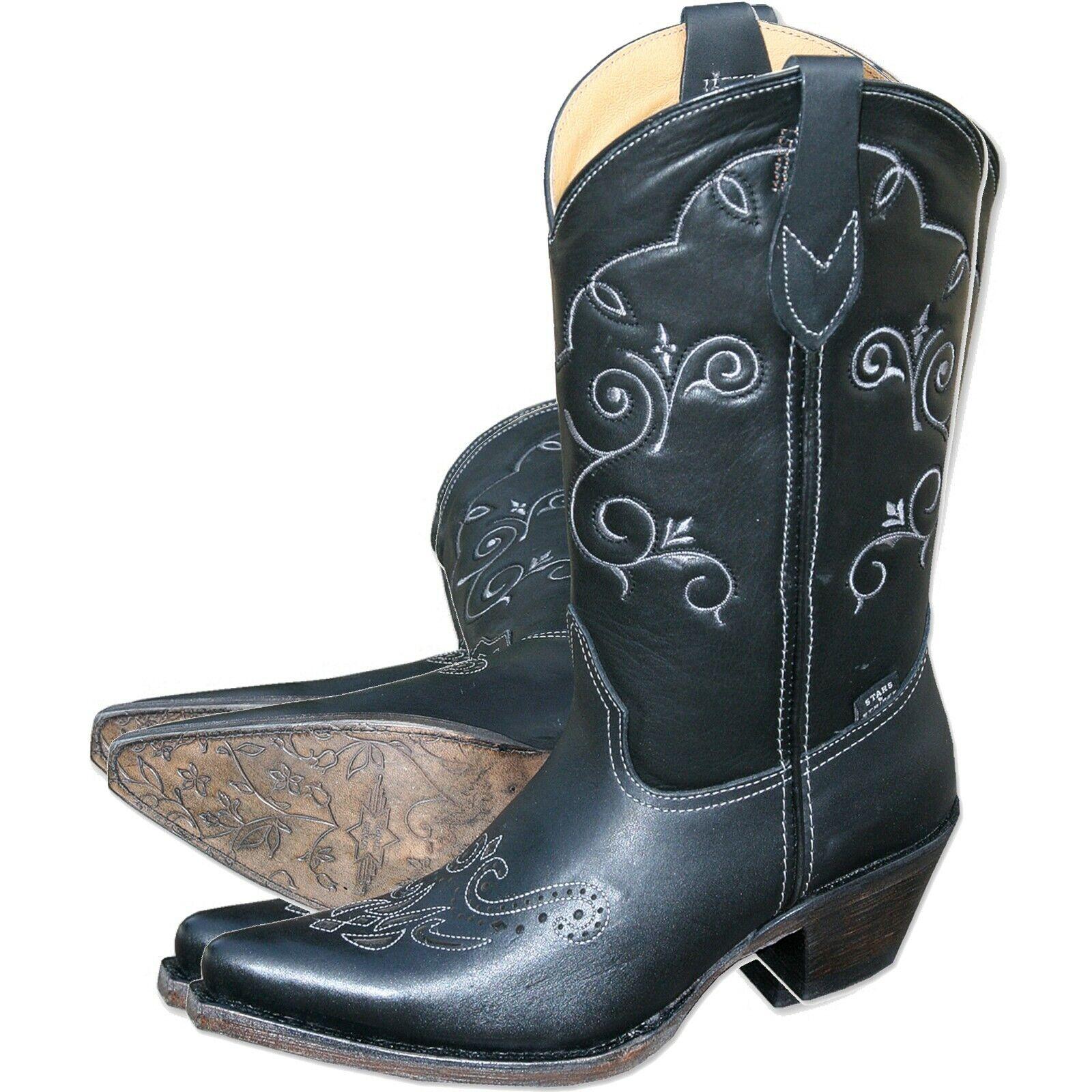 Westernstiefel Damen-Stiefel Cowgirlstiefel Lederstiefel Western  WBL-29  Schwarz