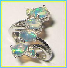 Genuine Ethiopian Welo Opal  Ring Platinum overlay Sterling Silver 925 sz 6