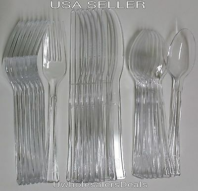 144 Plastic Spoons Forks Knives CLEAR Disposable Heavy Duty Cutlery Party Pack