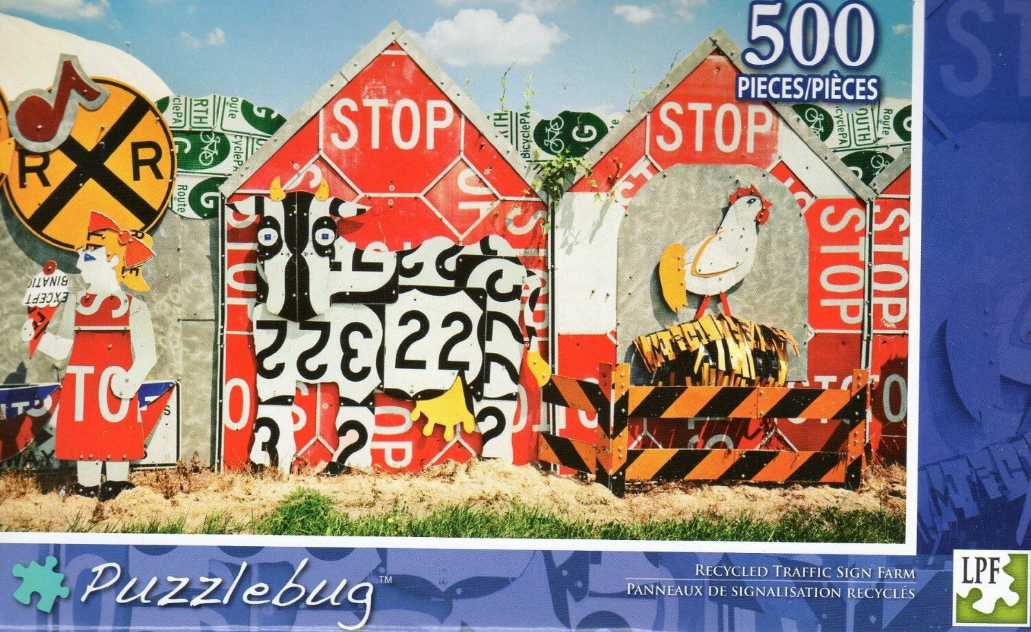 NEW Puzzlebug 500  Piece Jigsaw Puzzle  500 Recycled Traffic Sign Farm e94d4b