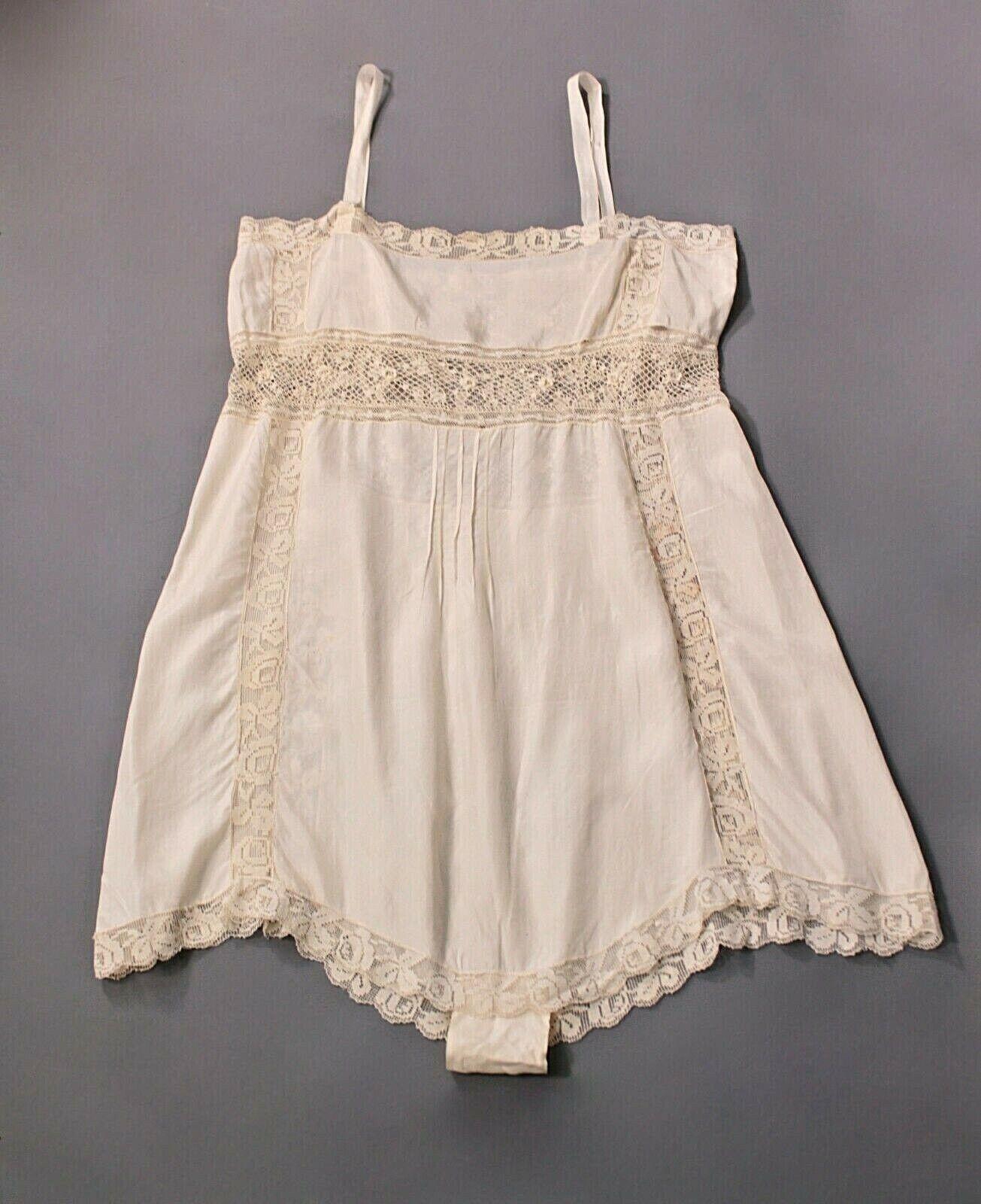 VTG Women's 20s 30s White Underwear / Slip w Lace… - image 1