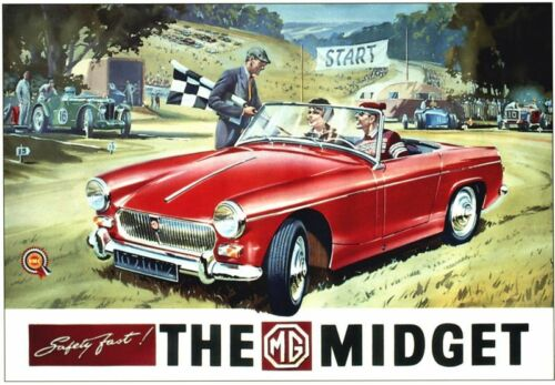 Vintage MG Midget Advertisement Poster A3//A2 Print