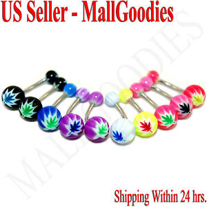 W063-Acrylic-Belly-Naval-Rings-Bars-Cannabis-Marijuana-Weed-Pot-Leaf-10-Colors