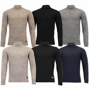 Mens-Polo-Neck-Wool-Mix-Jumper-Threadbare-Knitted-Sweater-Top-Waffle-Winter-New