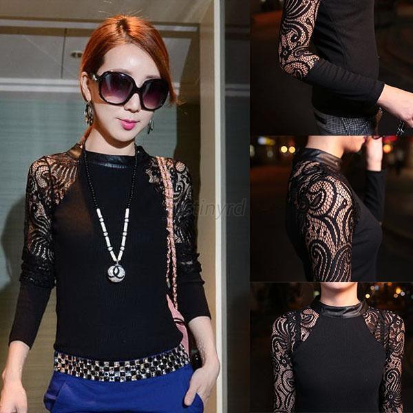 Women Autumn Winter Floral Lace Sweater Long Sleeve Knit Blouse Shirt Tops J67
