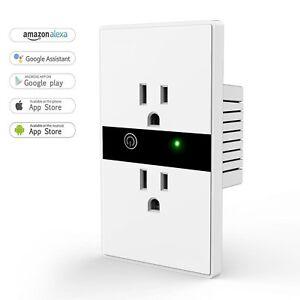Smart WIFI Wall Outlet Plug Duplex Receptacle Switch Wireless In ...
