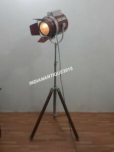VINTAGE THEATER SPOT LIGHT FLOOR LAMP SEARCHLIGHT WITH TRIPOD STAND ...