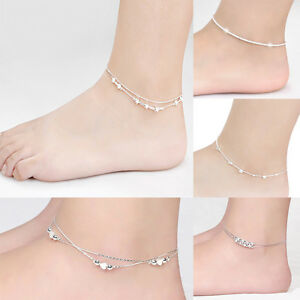 Women-Foot-Jewelry-925-Silver-Plated-Chain-Anklet-Bracelet-Barefoot-Sandal-Beach