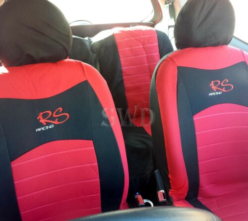6pc Universal RS Racing RED Car Seat Cover Set Custom Embroidered Logo Sports