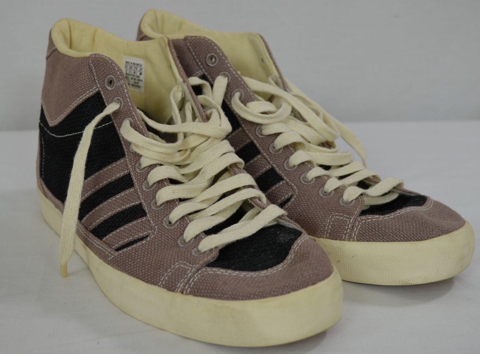 RARE Adidas REGROUND Vegan Recycled Beige Burlap 3 Stripe Hi-Top Sneakers 12