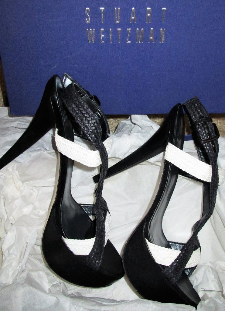 STUART WEITZMAN WEITZMAN WEITZMAN   412 BLACK WHITE WOVEN PLATFORM HEELS SHOES SANDALS 10.5 NEW 5400c6