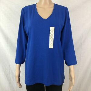 St-Johns-Bay-Womens-Shirt-Size-X-Large-XL-Blue-3-4-Long-Sleeve-Career-Casual
