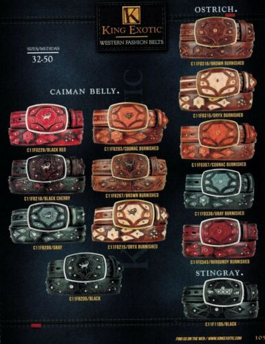 King Exotic Men/'s Genuine Caiman Belly//Ostrich//Stingray Cowboy Western Belts
