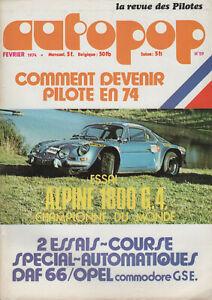 Autopop 29 1974 Alpine A110 1800 Gr4 Opel Commodore Gse Tour De Corse Daf 66 Mar