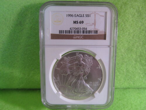 1996 SILVER EAGLE GRADED MS 69 BY NGC LOWEST MINTAGE
