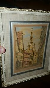 VINTAGE 1948 COLORED SKETCH DRAWING WALDSEE GERMANY SPITALKA PELLE SIGNED ARTIST