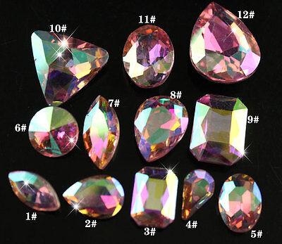 30 pink ab glass Rhinestone teardrop/oval Crystal pointback beads pk color&shape