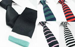 b01495f9e075d De Luxe Rayé Coton Fait à la Main Cravate en Maille Skinny Fin Bleu ...