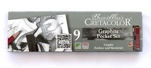 9-Piece-Graphite-Drawing-Set-Various-Sticks-NEW-Artist-Quality-Pencils-in-tin