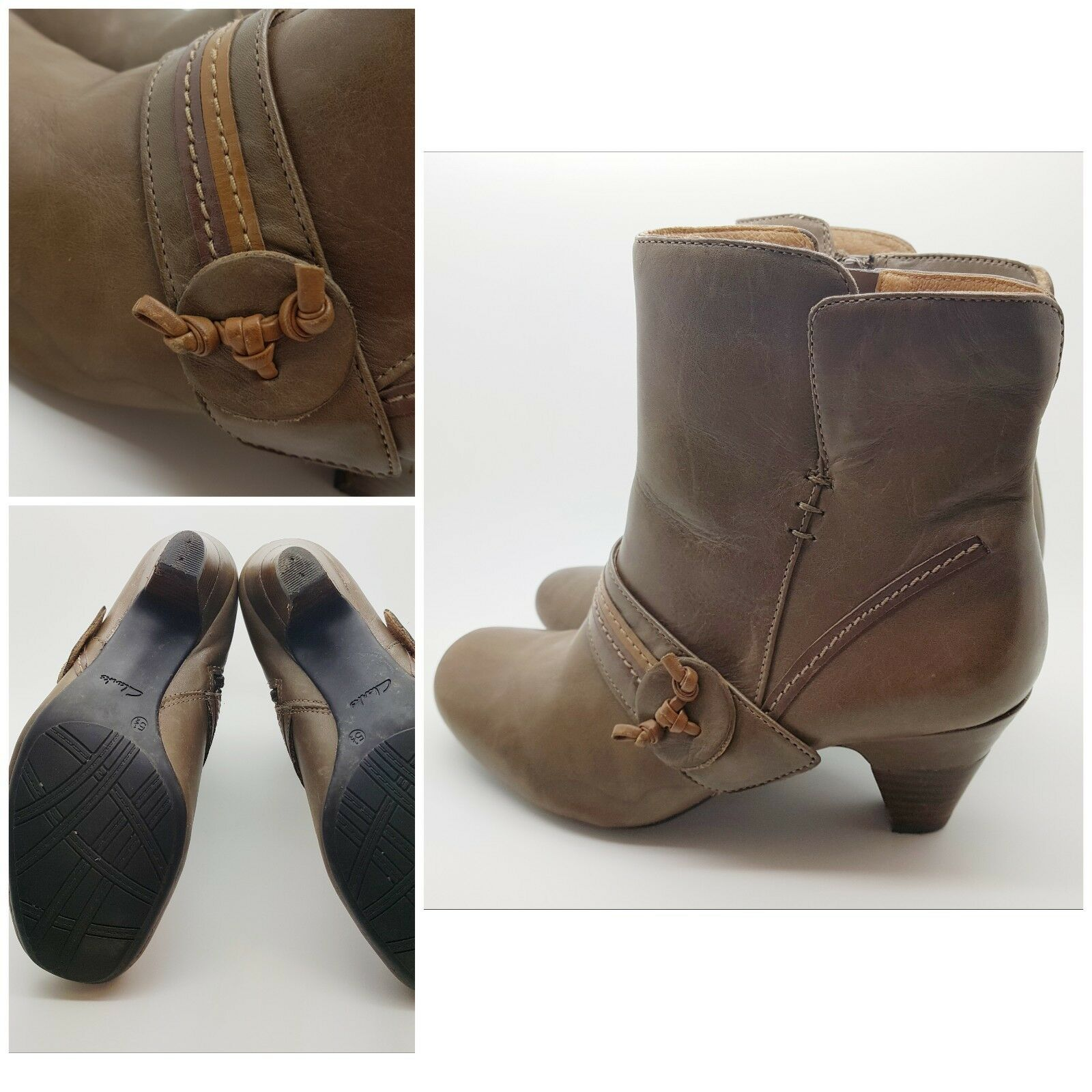 Clarks Softwear Ankle Boots Brown Leather Kitten Heel Zipped E