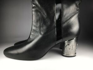 a78610fe3f3 Chanel Women s Over the Knee Lambskin Silver Heel Boots Size 41