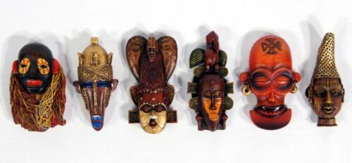 """Hand Painted African Mask Art Poly Resin Refrigerator Magnet 3-3.4/"""""""