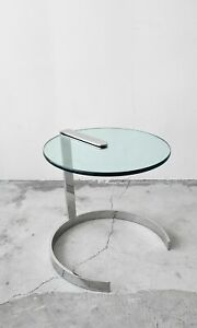 Details About Mid Century Round Chrome And Gl Cantilevered Side Table
