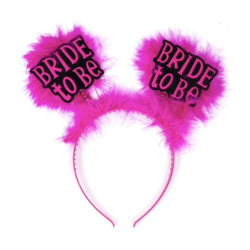 """Hen Party Headband Set FREE /""""Bride To Be/"""" Head Bands Pink Fluffy Hearts 4//6//12"""