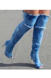 26eae297e6a Thigh High Acid Wash Blue Denim Over Knee Ripped Jean Boots ...