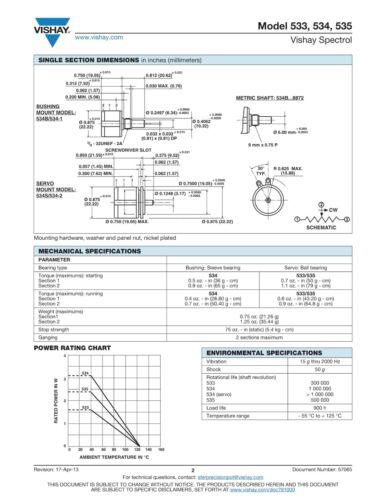 534-5k Vishay 10-Gang-drehpotentiometer 5kω precisión-drahtpoti linear ± 0,25/% 2w