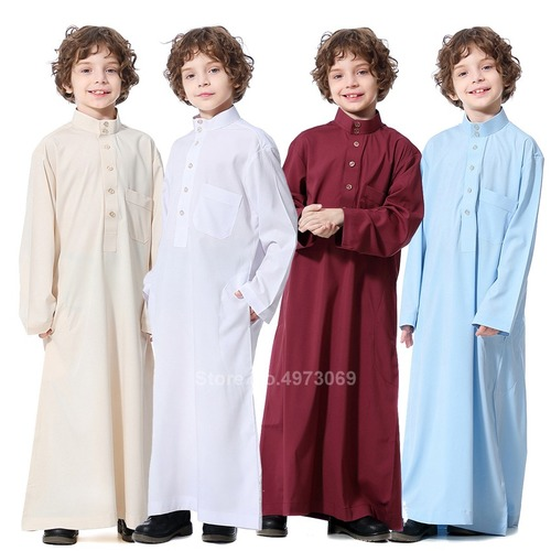 Muslim Robe Teenager Pakistan Boy Middle East Full Sleeve Islamic Clothing Party