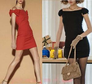 Mini-abito-donna-scollo-barchetta-con-fiocco-vestitino-vestito-party-sera-Cb002