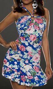 SeXy-Miss-Damen-Blumen-Neck-Mini-Kleid-Girly-Trendy-Volant-Dress-blau-bunt-XS-S