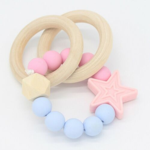 Hölz Beißring Baby kaubare Kinderkrankheiten Armband Silikon Spielzeug eoHpr