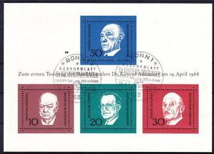 Bund-Block-4-mit-2x-ESST-Ersttag-SST-Bonn-Konrad-Adenauer-1969-used