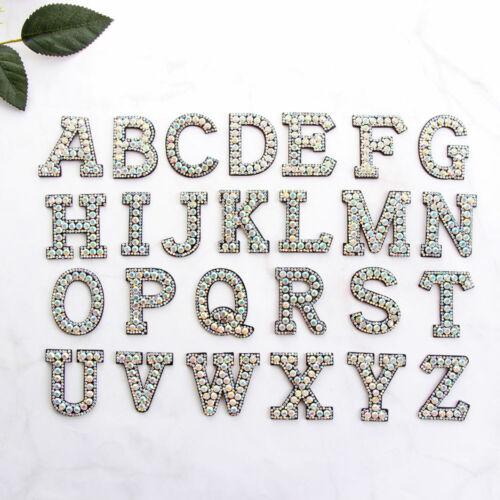 A-Z Letter Rhinestone Alphabet Applique 3D Iron On Patch Clothes Shoes Patches