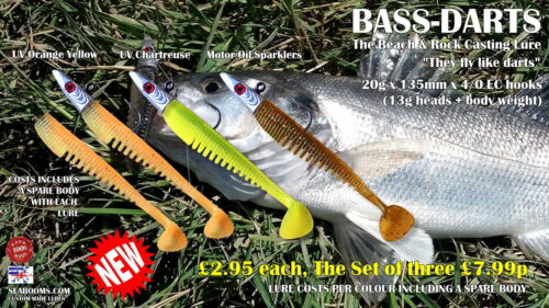 Bass Darts Sea fishing Lures 4//0 Hooks Beach Rock Casting soft silicone Lures 01