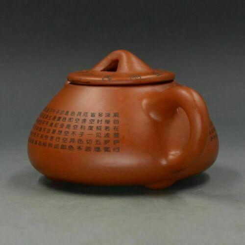 Chinese Yixing ZIsha Hand Carved Heart Sutra Teapot Made By Zhou Zhichen K02