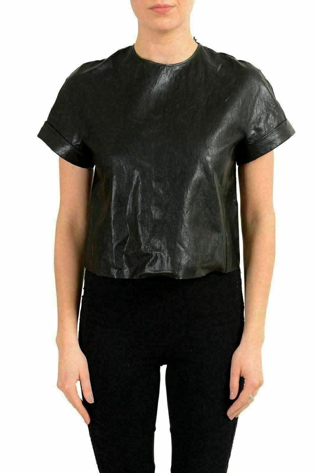 Just Cavalli Woherren Faux Leather schwarz Cropped Top US S IT 40
