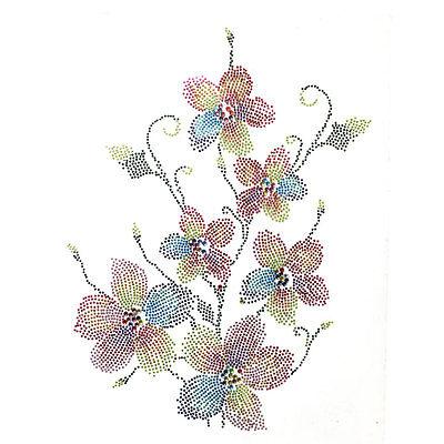 Rhinestone Iron on Transfer Hot fix Motif crystal Fashion Design Flower Love 94