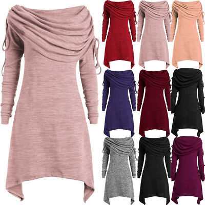 42aa110729d Plus Size Womens Dress Ruched Long Foldover Collar Tunic Top Blouse Tops  Pleated
