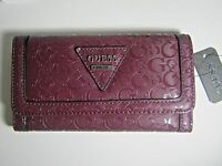 Guess Women's Polished Slg Trifold Clutch Wallet Bordeaux