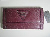 Guess Women's Polished Slg Trifold Clutch Wallet Bordeaux