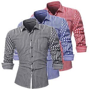 Men-Dress-Shirts-Striped-Shirts-Long-Sleeve-Slim-Fit-Buisness-Button-Down-Casual