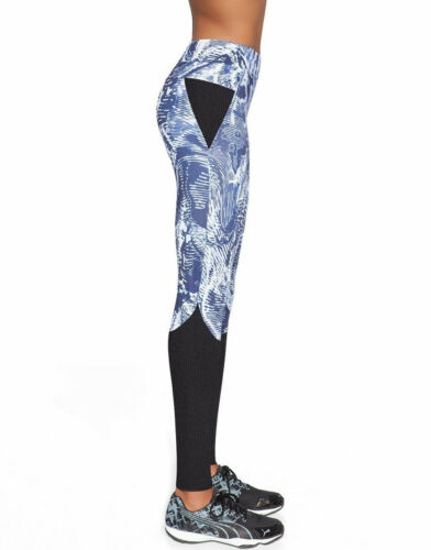 Leggings pantalon de sport bleu noir femme fitness BAS BLACK TRIXI taille L