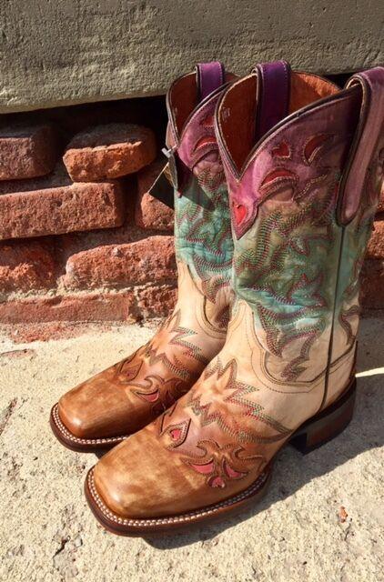 Negozio 2018 Dan Dan Dan Post Ladies  Paint  Multi Colore Cowgirl Certified Square Toe stivali DP4615  spedizione veloce in tutto il mondo